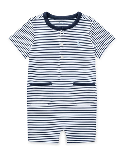 Jersey Striped Shortall, Size 3-18 Months