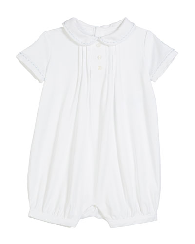 Interlock Peter Pan-Collar Shortall, Size 3-18 Months