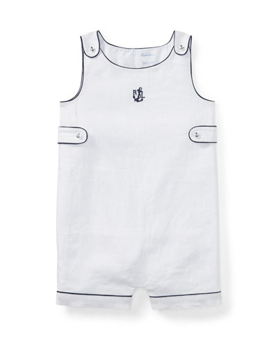 Woven Linen Button-Strap Playsuit w/ Contrast Piping, Size 3-18 Months