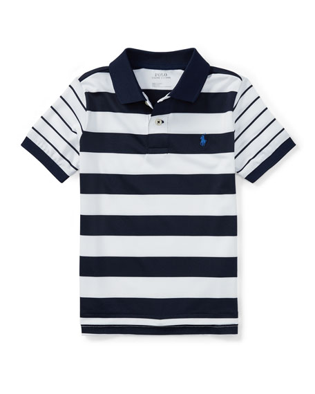 Lisle Multi-Stripe Short-Sleeve Polo, Size 5-7