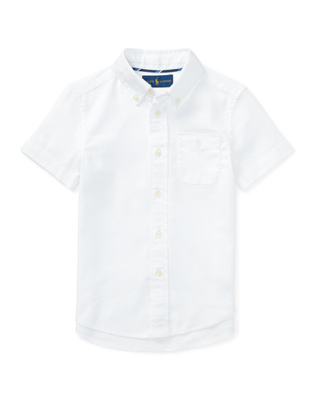 Short-Sleeve Performance Oxford Shirt, Size 2-4T