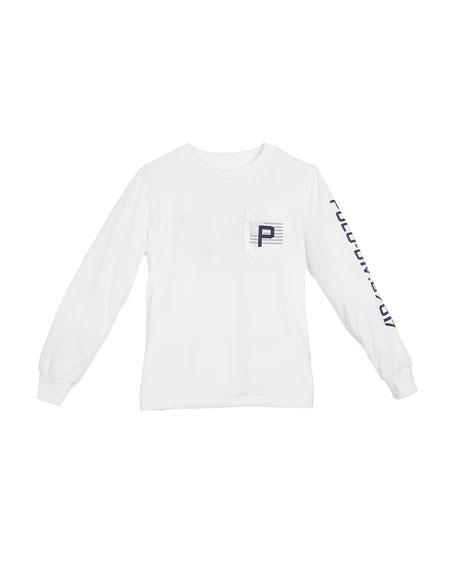 Long-Sleeve Aviation Logo Performance Jersey T-Shirt, Size 5-7