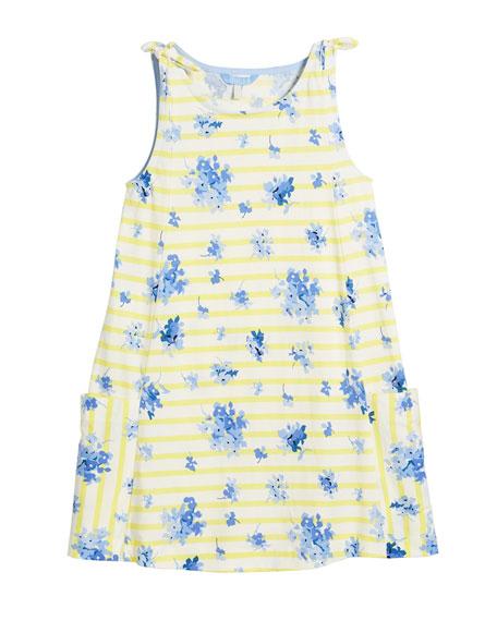 Madeline Stripe & Floral Tie Sleeveless Dress, Size 3-10