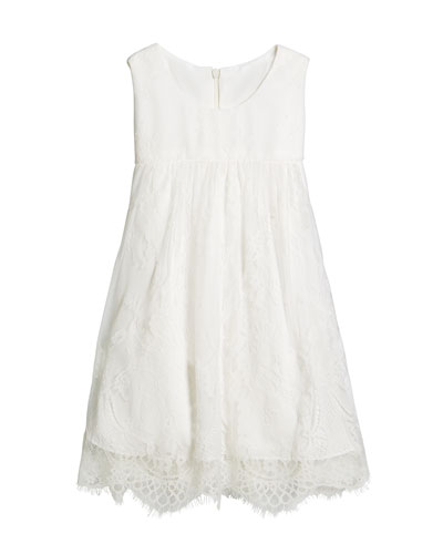 Lace Empire-Waist Sleeveless Dress, Size 2-6