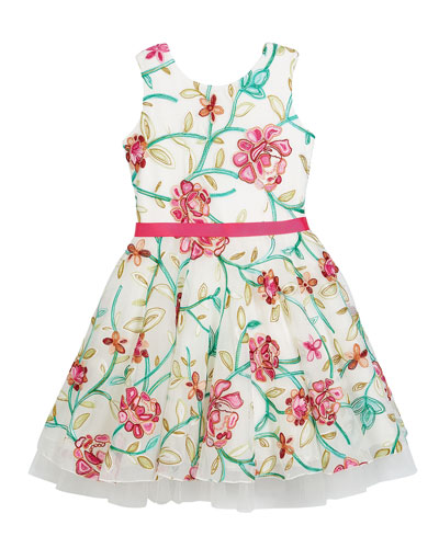 Crewel Floral Embroidered Mesh Party Dress, Size 2-6X