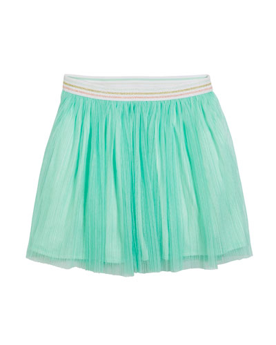 pleated glittered tulle skirt, size 7-14