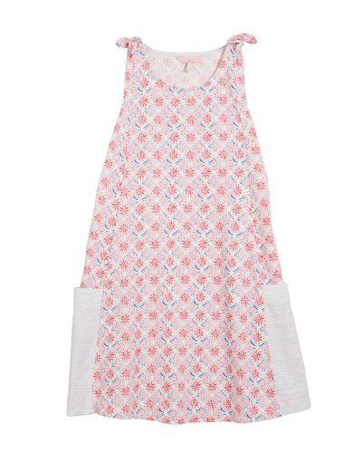 Coral-Print Sleeveless Cotton Dress, Size 3-10