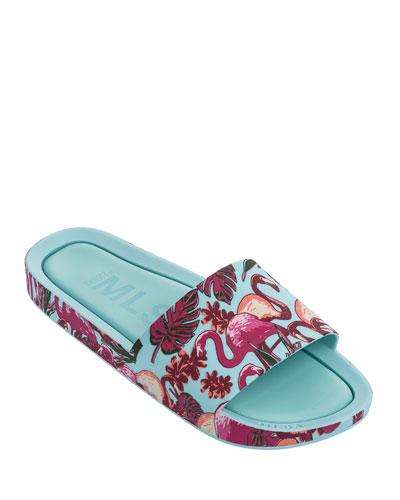 Mel Beach Slide Flamingo Sandal, Kids