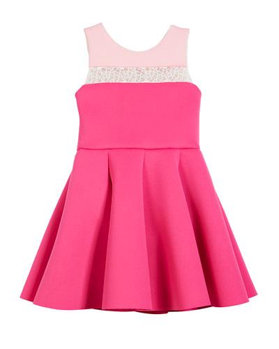 Colorblock 8-Panel Lace-Inset Swing Dress, Size 4-6X