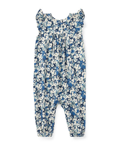 Floral Ruffle-Sleeve Romper, Size 9-24 Months