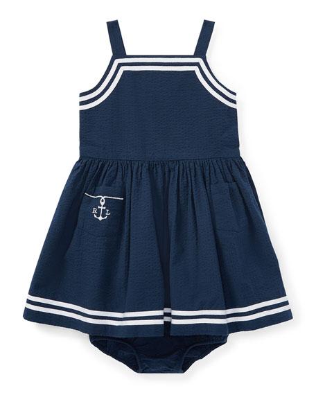 Ralph Lauren Childrenswear Seersucker Woven Sleeveless Dress w/