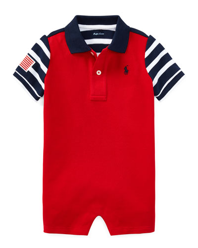 Colorblock American Flag Shortall, Size 3-18 Months