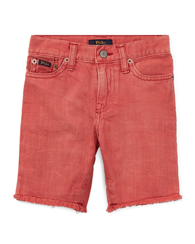 Raw-Hem Denim Shorts, Size 2-4