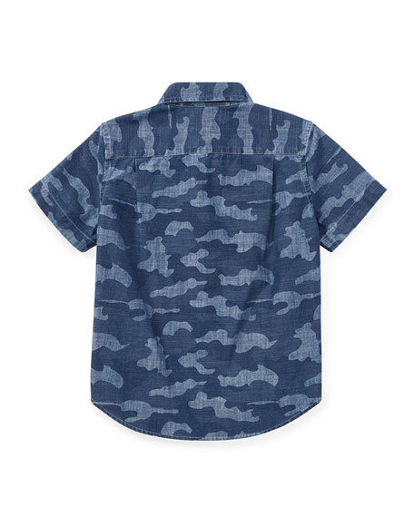 Short-Sleeve Button-Down Camo Shirt, Size 5-7