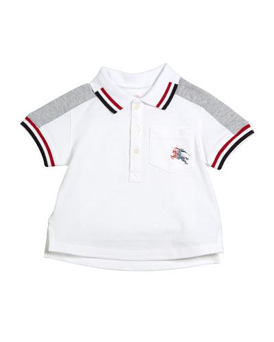 Tai Two-Tone Striped-Trim Short-Sleeve Polo, Size 6M-3