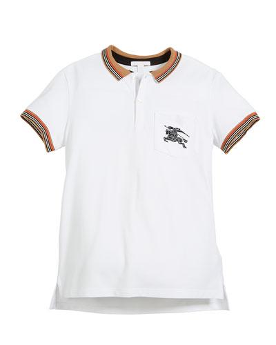 Noel Striped-Trim Logo Pocket Polo, Size 4-14