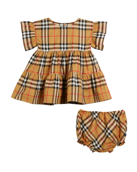 Burberry Alima Ruffle Check Dress w/ Bloomers, Size