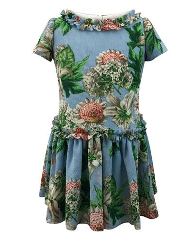 Floral Ruffle-Trim Short-Sleeve Dress, Size 12-18 Months