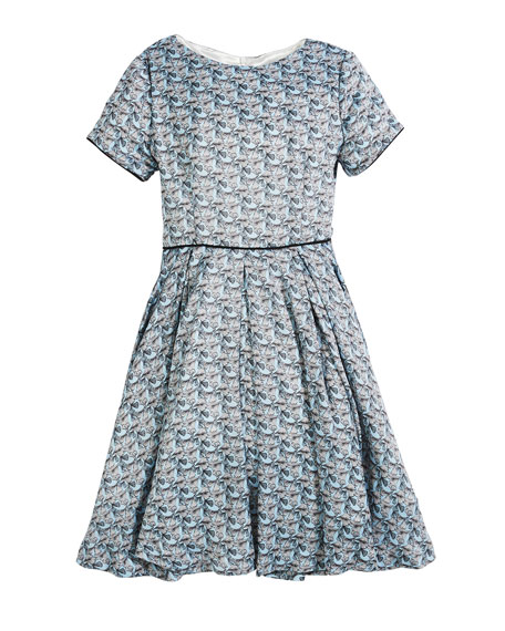 Short-Sleeve Printed Dress, Size 7-14