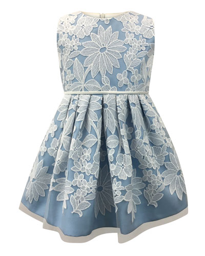 Sleeveless Pleated Lace Dress, Size 7-14