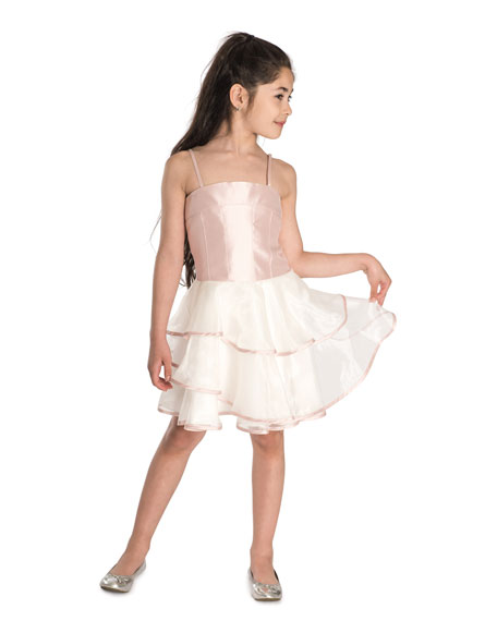 Addison Spaghetti Strap Matte Sateen & Organza Dress, Size 4-6X