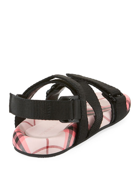 BURBERRY Leathers REDMIRE CHECK-LINED SANDAL, TODDLER GIRLS