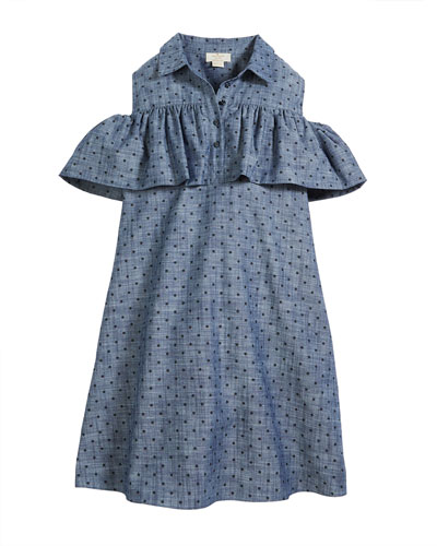 cold-shoulder ruffle chambray dress, size 7-14