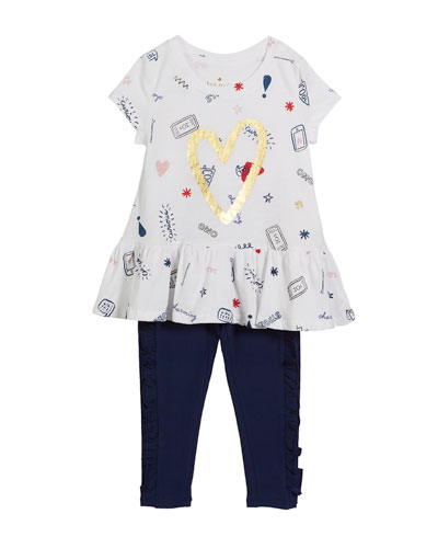 doodle-print top w/ matching leggings, size 2-6x