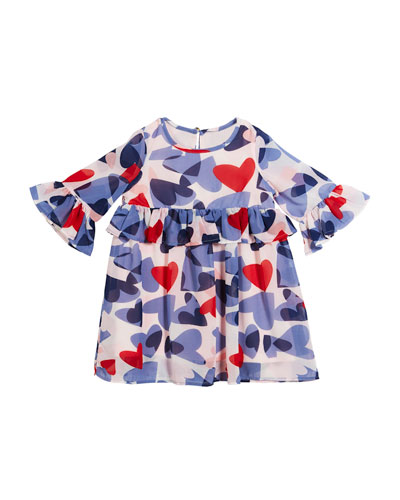 confetti heart long-sleeve dress, size 2-6x