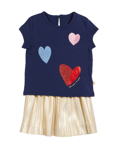 tossed hearts t-shirt w/ metallic skirt set, size 12-24 months