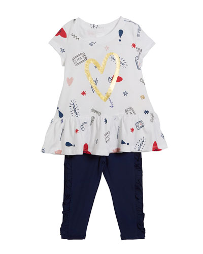 doodle-print short-sleeve top w/ ruffle leggings, size 12-24 months