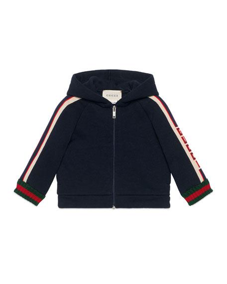 Gucci Hooded Logo Jacquard-Trim Jacket w/ Web Knit