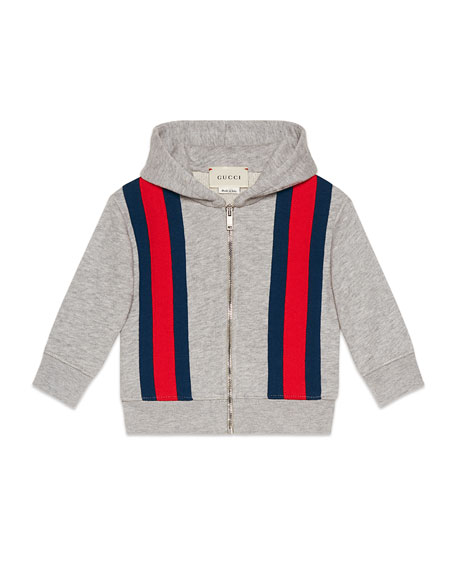 Gucci Hooded Zip-Up Web-Trim Jacket, Size 9-36 Months