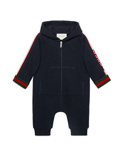 Hooded Logo-Sleeves Web-Cuffs Coverall, Size 6-24 Months