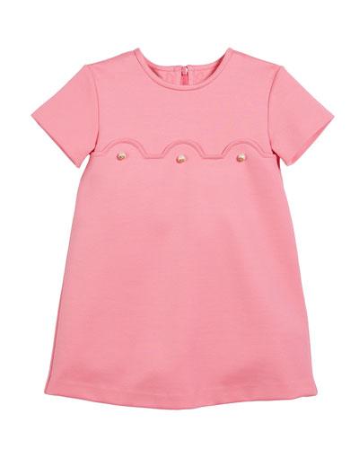 Short-Sleeve Dress w/ GG Glass Pearls, Size 12-36 Months