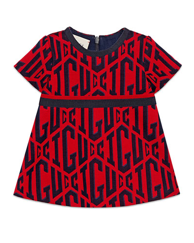 Short-Sleeve Gucci Rhombus-Print Dress, Size 12-36 Months