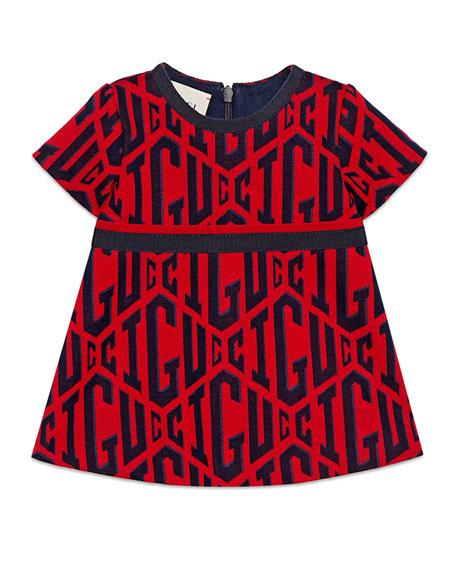 e54ec2ba99f Gucci Short-Sleeve Gucci Rhombus-Print Dress