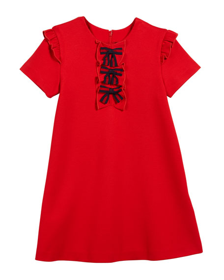 Short-Sleeve Jersey Stretch Ruffle-Trim Dress w/ Web Bows, Size 12-36 Months