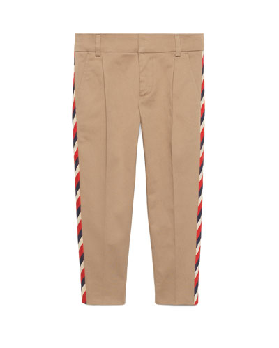 Stretch Gabardine Sylvie-Trim Pants, Size 4-12