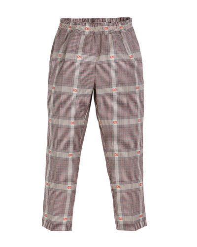 Prince of Wales Plaid & GG Fil Coupe Dress Pants, Size 4-12