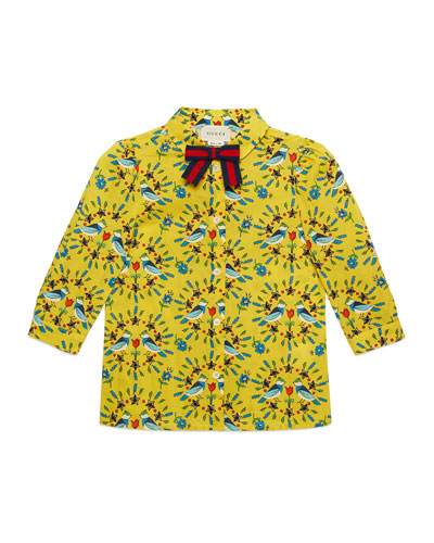 Love Birds-Print Long-Sleeve Blouse, Size 4-12