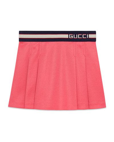 Pleated Jersey Skirt w/ Logo Waistband, Size 4-12