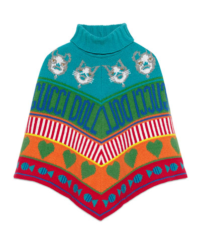 Rainbow Mixed-Jacquard Wool Poncho, Size 4-12