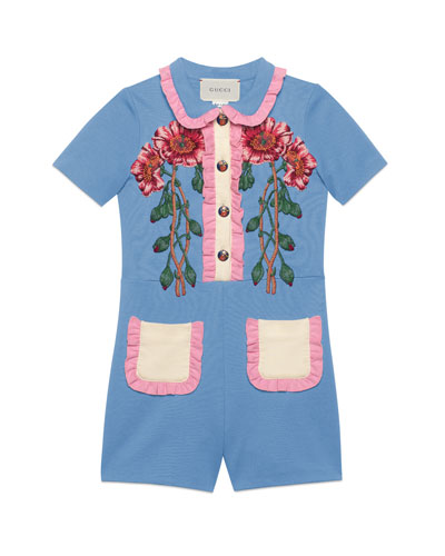 Ruffle-Trim Jersey Stretch Shortall w/ Flower Appliqués, Size 4-12