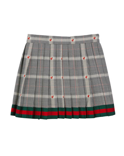Prince of Wales Plaid & Ladybug Skirt w/ Web Hem, Size 4-12