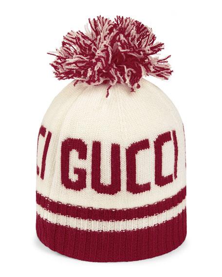 Gucci Kids' Logo Jacquard Knit Beanie w/ Pompom
