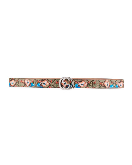 Gucci Kids' Fawns-Print GG Supreme Belt