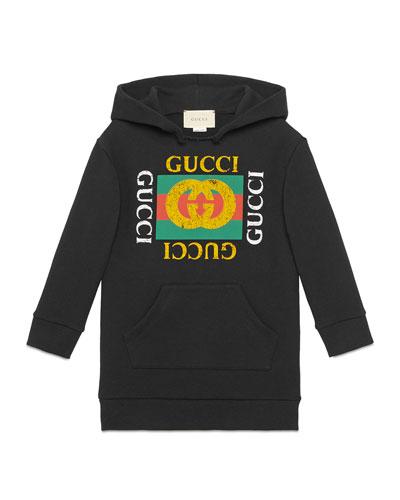 Hooded Sweatshirt Dress w/ Vintage Logo, Size 4-10