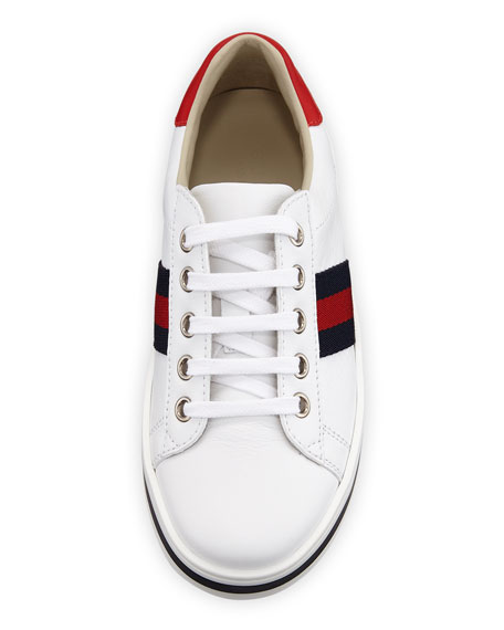 c1ee1badd65 Gucci New Ace Web-Trim Leather Platform Sneakers