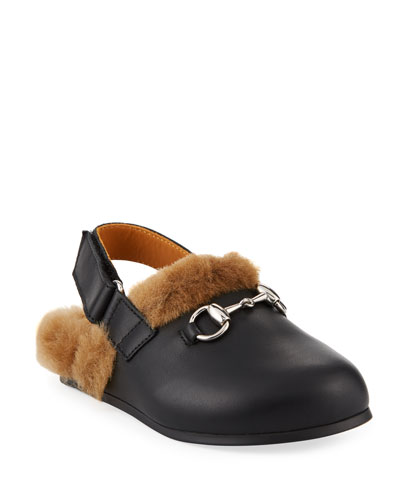 Leather Mule Slides w/ Faux Fur Lining, Toddler